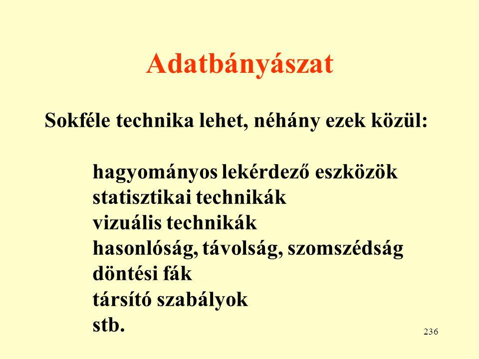 237 Hagyományos lekérdező eszközök Egyszerű lekérdezések: pl.