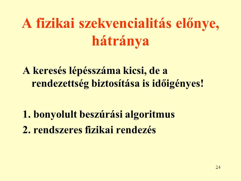 25 Logikai szekvenciális állomány struktúrák A rekordok logikai és fizikai sorrendje nem egyezik meg.