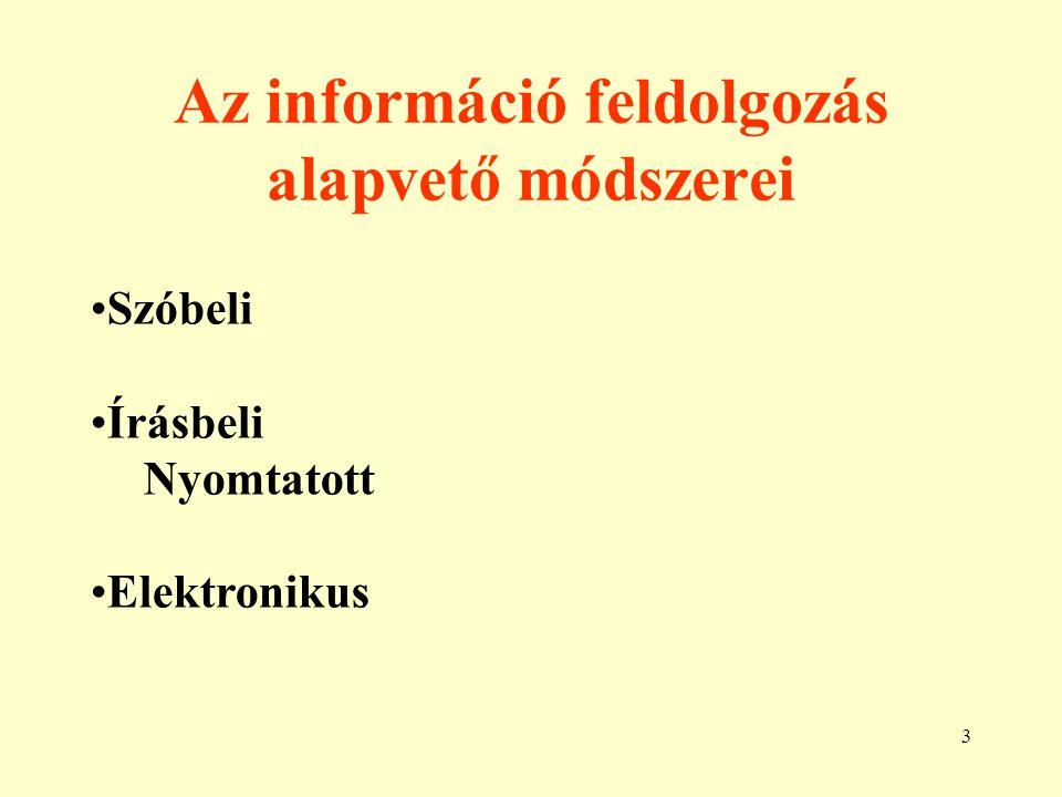 4 A szóbeli információ feldolgozás Az információ tárgya akkor, ott nem kell, hogy jelen legyen.