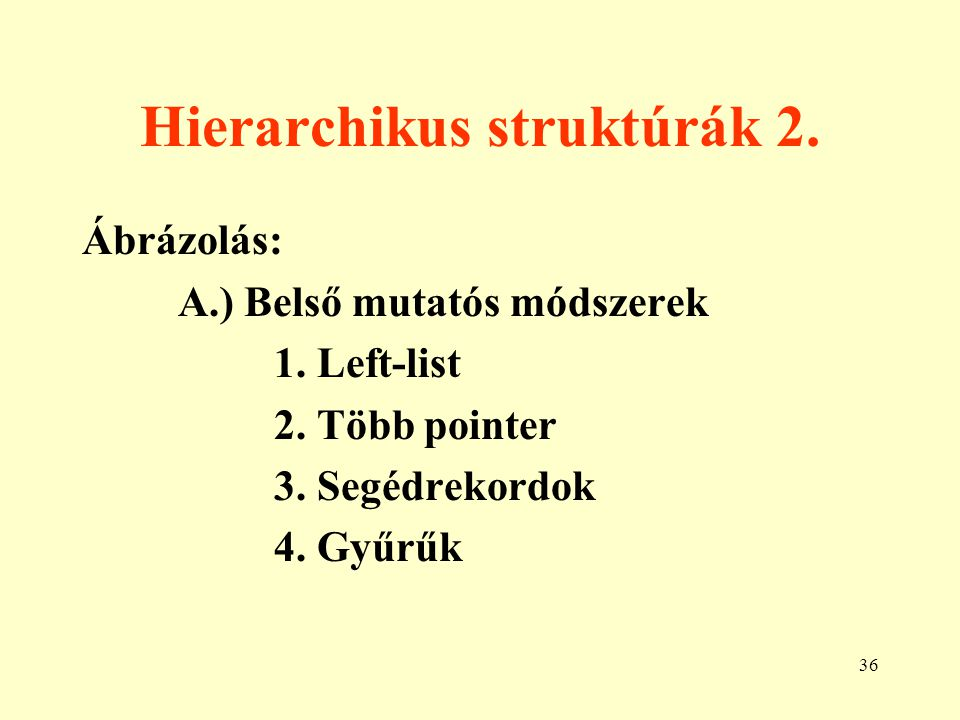 37 Hierarchikus struktúrák 3. B.) Külső mutatós módszerek 1. Táblázatok 2. Bináris mátrixok