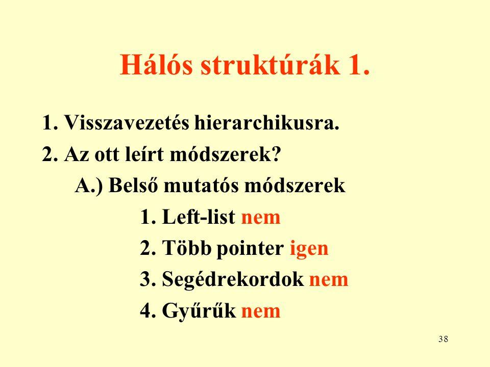39 Hálós struktúrák 2. B.) Külső mutatós módszerek 1. Táblázatok igen 2. Bináris mátrixok igen