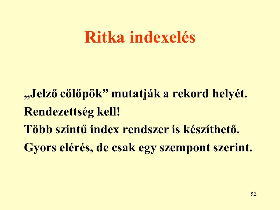 53 Index-szekvenciális szervezés 1.A ritka indexelés egy megvalósítása.