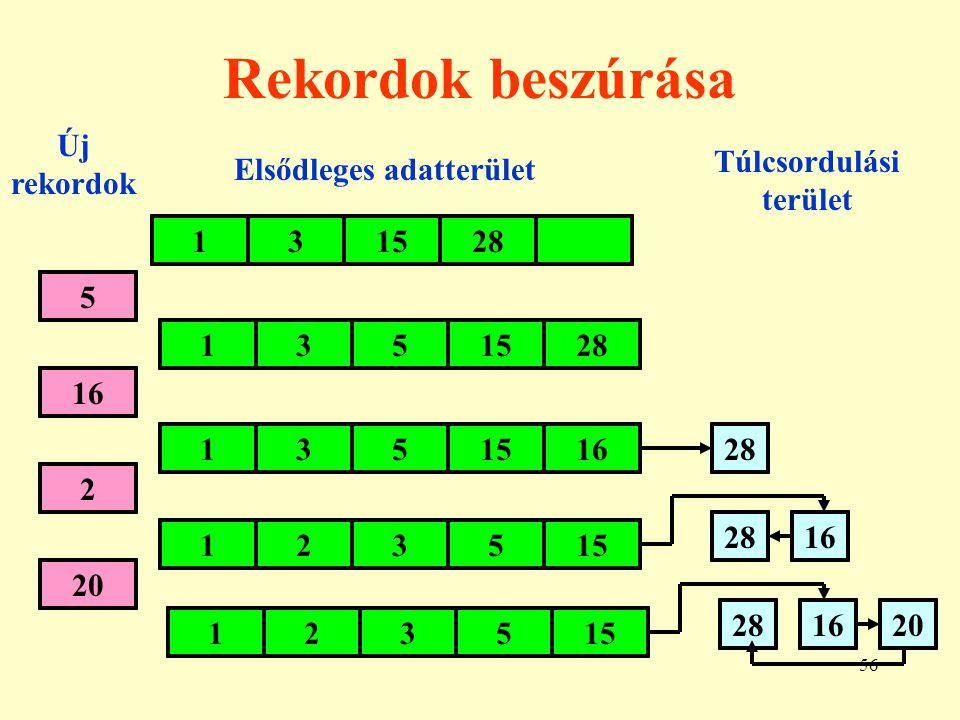 57 Direkt szervezés 1.Egy leképezést adunk meg a rekord kulcsa (K) és a címe (A) között.