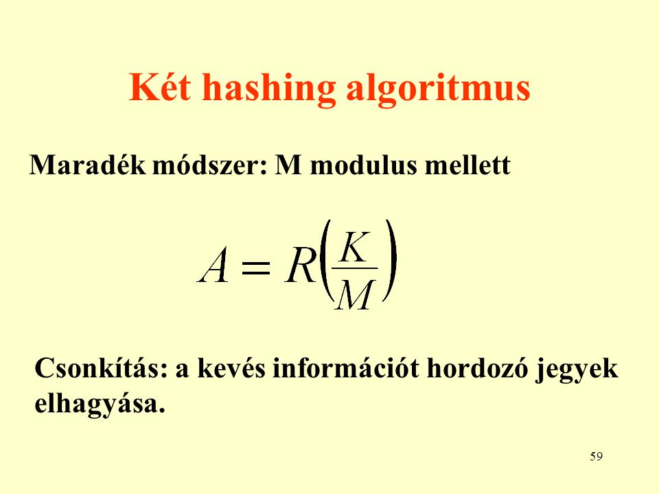 60 Szinonímok A hashing algoritmusok nem egy-egy értel- műek, így szinonimok keletkezhetnek.