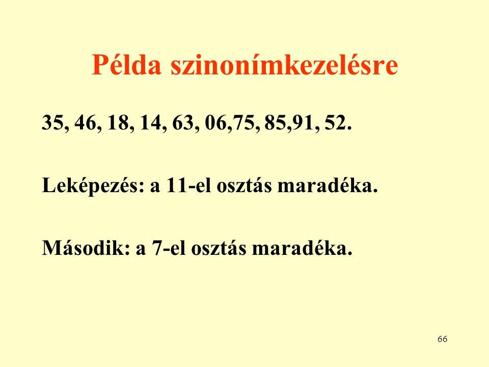 67 Példa bucket használatra 21, 32, 71, 14, 83, 72, 43, 51, 02, 11, 93, 44.