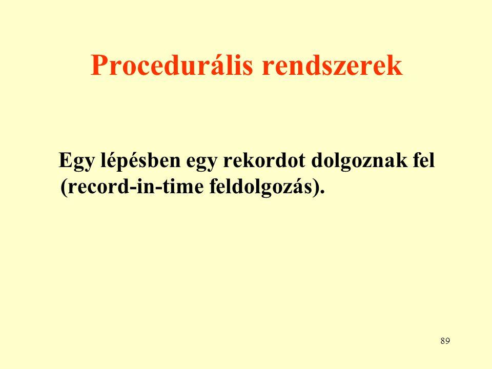 90 Deklaratív rendszerek Egy lépésben egy meghatározott tulaj- donságú halmazt (pl.