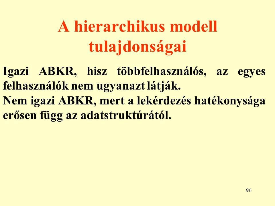 97 Lehetséges struktúrák egy hierarchikus modellben AUTÓ T1T3T2 TUL. A1A3A2