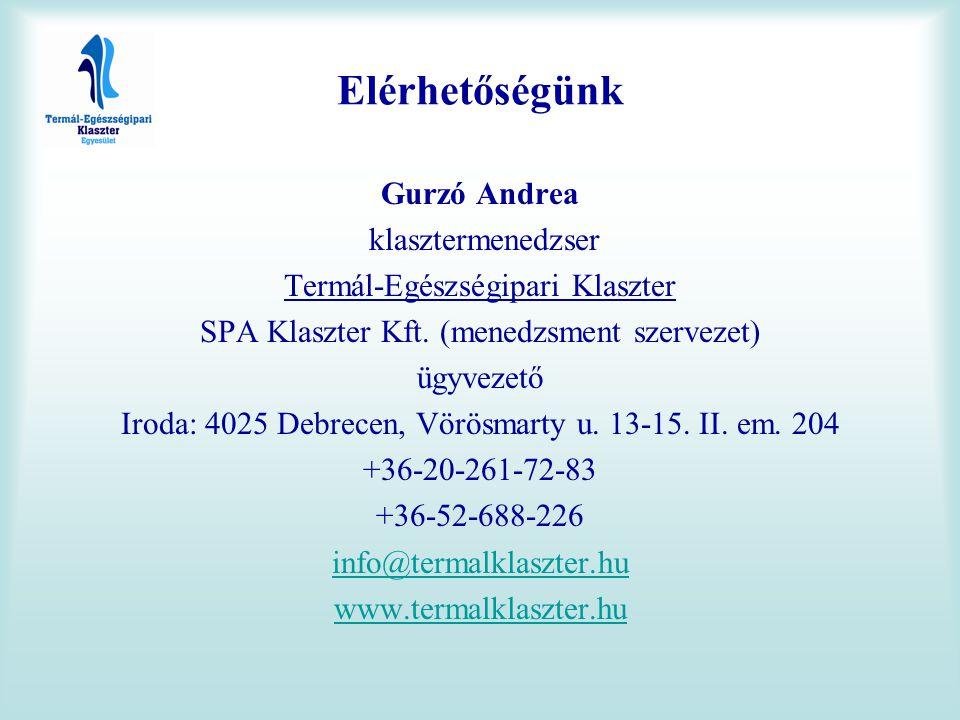 Elérhetőségünk Gurzó Andrea klasztermenedzser Termál-Egészségipari Klaszter SPA Klaszter Kft. (menedzsment szervezet) ügyvezető Iroda: 4025 Debrecen,