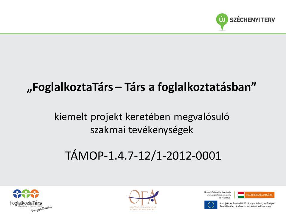 """""""FoglalkoztaTárs – Társ a foglalkoztatásban kiemelt projekt keretében megvalósuló szakmai tevékenységek TÁMOP-1.4.7-12/1-2012-0001"""