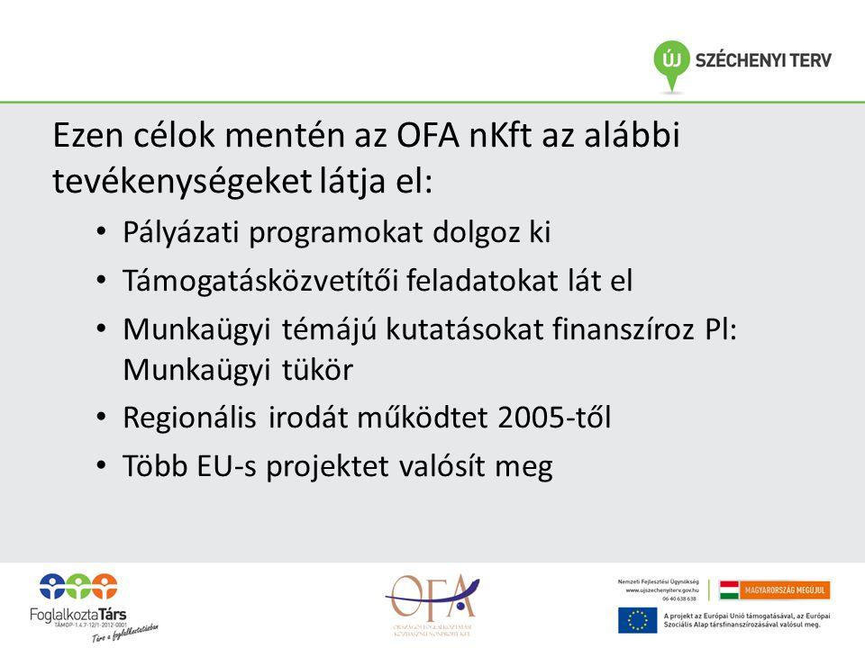 Ezen célok mentén az OFA nKft az alábbi tevékenységeket látja el: • Pályázati programokat dolgoz ki • Támogatásközvetítői feladatokat lát el • Munkaügyi témájú kutatásokat finanszíroz Pl: Munkaügyi tükör • Regionális irodát működtet 2005-től • Több EU-s projektet valósít meg