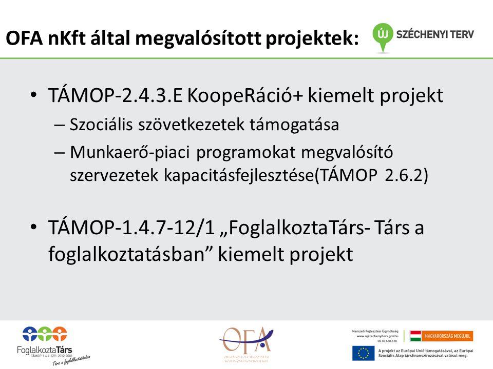 """• TÁMOP-2.4.3.E KoopeRáció+ kiemelt projekt – Szociális szövetkezetek támogatása – Munkaerő-piaci programokat megvalósító szervezetek kapacitásfejlesztése(TÁMOP 2.6.2) • TÁMOP-1.4.7-12/1 """"FoglalkoztaTárs- Társ a foglalkoztatásban kiemelt projekt OFA nKft által megvalósított projektek:"""