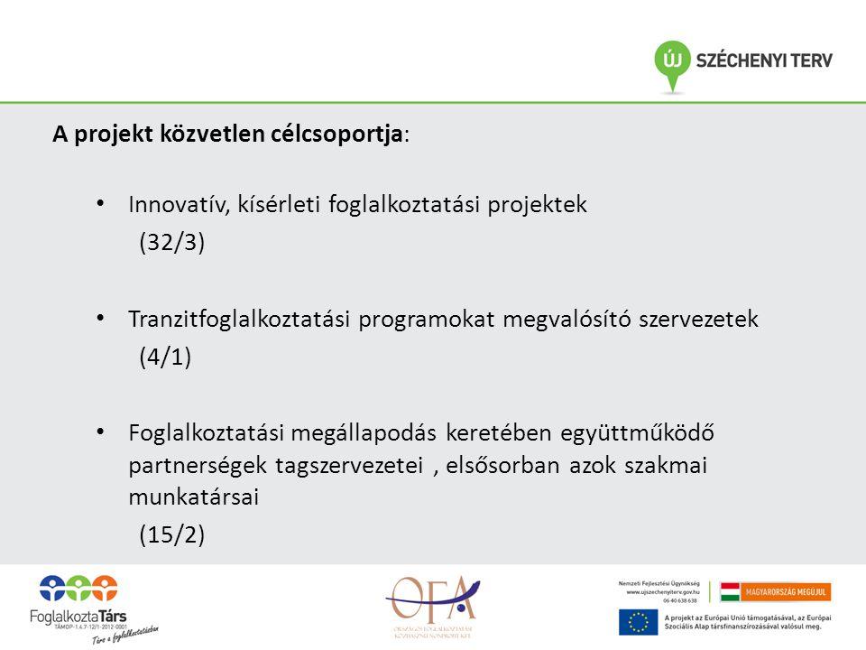 A projekt közvetlen célcsoportja: • Innovatív, kísérleti foglalkoztatási projektek (32/3) • Tranzitfoglalkoztatási programokat megvalósító szervezetek (4/1) • Foglalkoztatási megállapodás keretében együttműködő partnerségek tagszervezetei, elsősorban azok szakmai munkatársai (15/2)