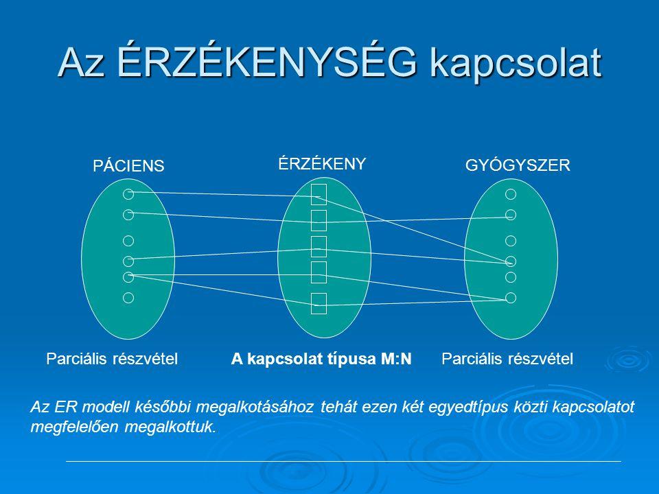 GYÓGYSZER ÉRZÉKENY PÁCIENS Az ÉRZÉKENYSÉG kapcsolat A kapcsolat típusa M:N Parciális részvétel Az ER modell későbbi megalkotásához tehát ezen két egye