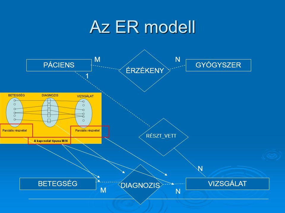 Az ER modell PÁCIENSGYÓGYSZER BETEGSÉGVIZSGÁLAT ÉRZÉKENY MN RÉSZT_VETT N 1 DIAGNOZIS M N