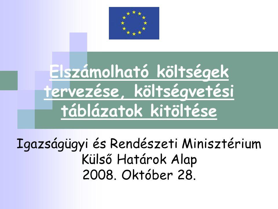 Elszámolható költségek tervezése, költségvetési táblázatok kitöltése Igazságügyi és Rendészeti Minisztérium Külső Határok Alap 2008. Október 28.