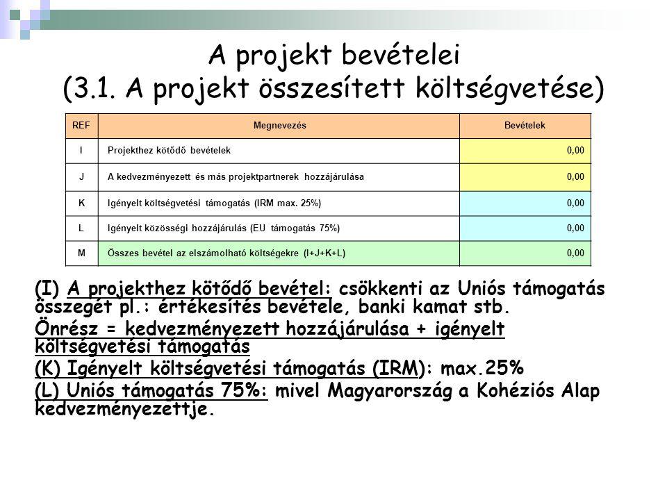 A projekt bevételei (3.1. A projekt összesített költségvetése) REF MegnevezésBevételek I Projekthez kötődő bevételek 0,00 J A kedvezményezett és más p