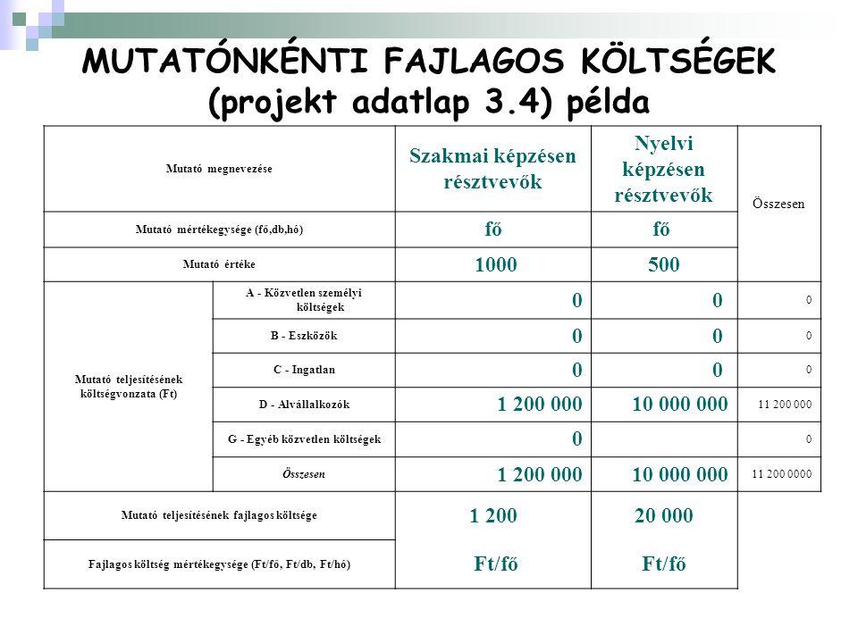 Mutató megnevezése Szakmai képzésen résztvevők Nyelvi képzésen résztvevők Összesen Mutató mértékegysége (fő,db,hó) fő Mutató értéke 1000500 Mutató teljesítésének költségvonzata (Ft) A - Közvetlen személyi költségek 00 0 B - Eszközök 00 0 C - Ingatlan 00 0 D - Alvállalkozók 1 200 00010 000 000 11 200 000 G - Egyéb közvetlen költségek 0 0 Összesen 1 200 00010 000 000 11 200 0000 Mutató teljesítésének fajlagos költsége 1 20020 000 Fajlagos költség mértékegysége (Ft/fő, Ft/db, Ft/hó) Ft/fő MUTATÓNKÉNTI FAJLAGOS KÖLTSÉGEK (projekt adatlap 3.4) példa