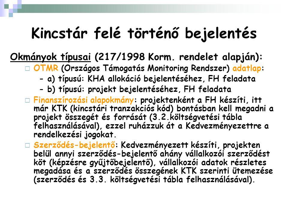 Kincstár felé történő bejelentés Okmányok típusai (217/1998 Korm. rendelet alapján):  OTMR (Országos Támogatás Monitoring Rendszer) adatlap: - a) típ
