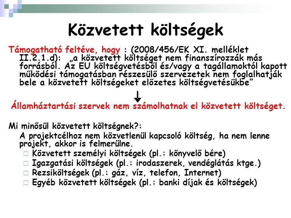 Közvetett költségek Támogatható feltéve, hogy : (2008/456/EK XI.