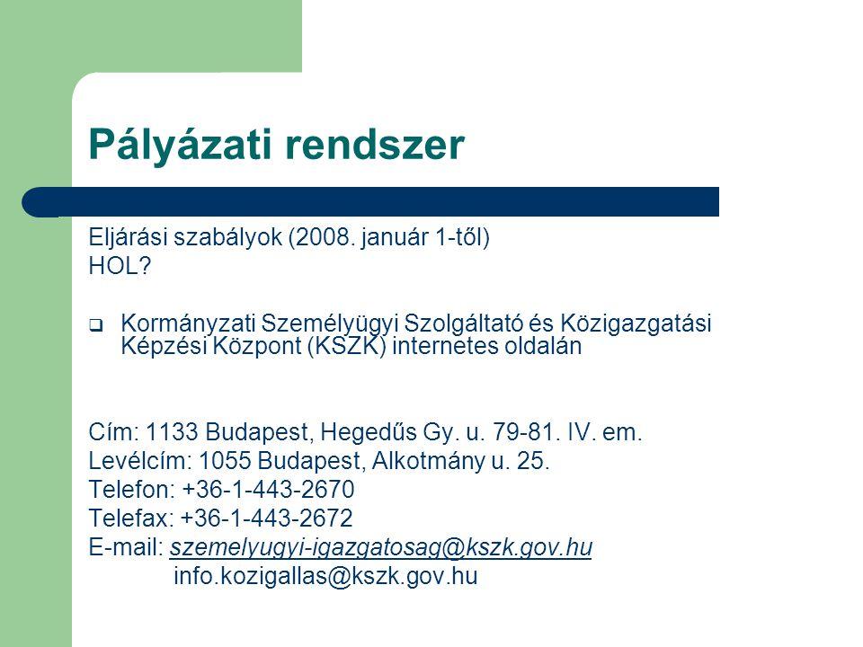 Pályázati rendszer Eljárási szabályok (2008. január 1-től) HOL?  Kormányzati Személyügyi Szolgáltató és Közigazgatási Képzési Központ (KSZK) internet