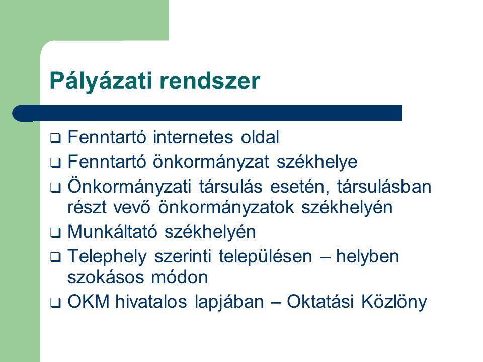 Pályázati rendszer  Fenntartó internetes oldal  Fenntartó önkormányzat székhelye  Önkormányzati társulás esetén, társulásban részt vevő önkormányza