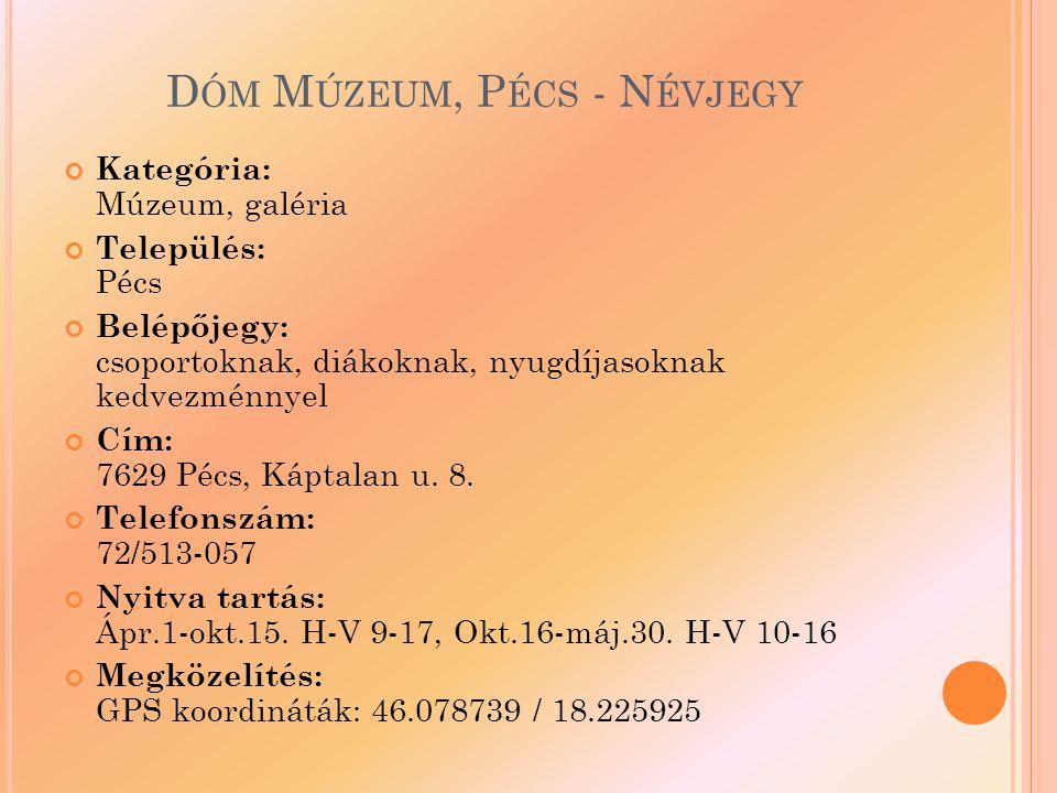 D ÓM M ÚZEUM, P ÉCS - N ÉVJEGY Kategória: Múzeum, galéria Település: Pécs Belépőjegy: csoportoknak, diákoknak, nyugdíjasoknak kedvezménnyel Cím: 7629 Pécs, Káptalan u.