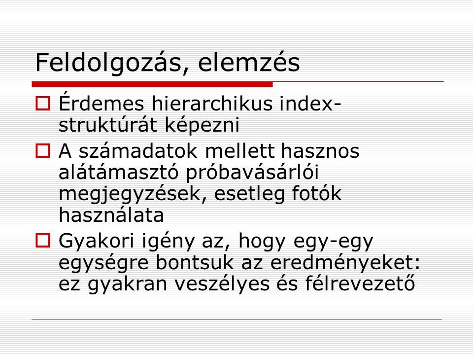 Feldolgozás, elemzés  Érdemes hierarchikus index- struktúrát képezni  A számadatok mellett hasznos alátámasztó próbavásárlói megjegyzések, esetleg f