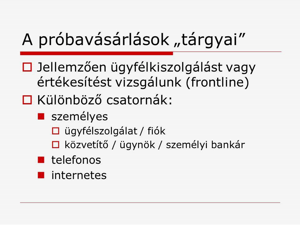 """A próbavásárlások """"tárgyai""""  Jellemzően ügyfélkiszolgálást vagy értékesítést vizsgálunk (frontline)  Különböző csatornák:  személyes  ügyfélszolgá"""