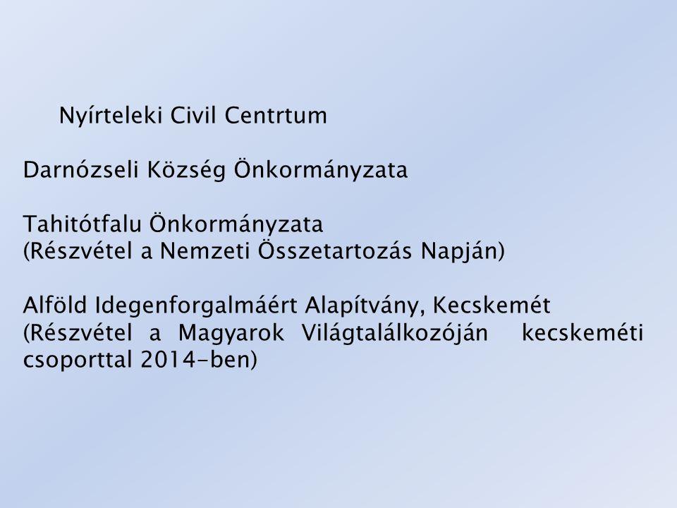 Nyírteleki Civil Centrtum Darnózseli Község Önkormányzata Tahitótfalu Önkormányzata (Részvétel a Nemzeti Összetartozás Napján) Alföld Idegenforgalmáér