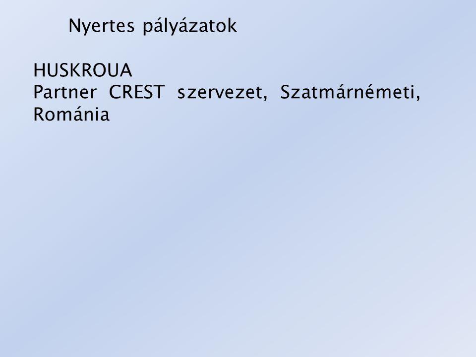 Nyertes pályázatok HUSKROUA Partner CREST szervezet, Szatmárnémeti, Románia