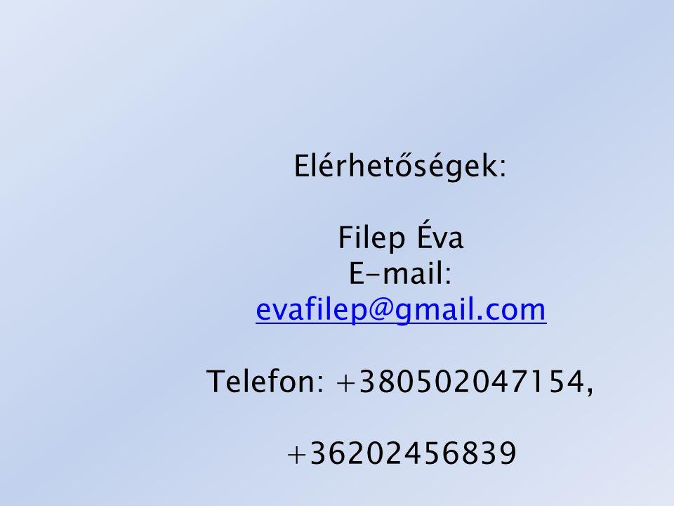 Elérhetőségek: Filep Éva E-mail: evafilep@gmail.com Telefon: +380502047154, +36202456839