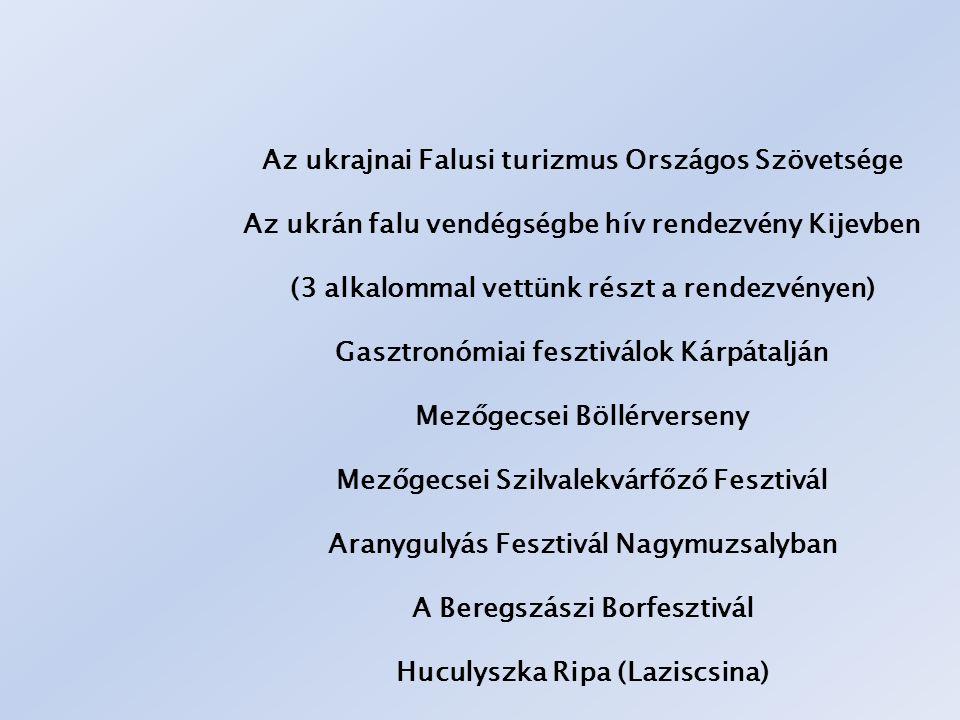 Az ukrajnai Falusi turizmus Országos Szövetsége Az ukrán falu vendégségbe hív rendezvény Kijevben (3 alkalommal vettünk részt a rendezvényen) Gasztronómiai fesztiválok Kárpátalján Mezőgecsei Böllérverseny Mezőgecsei Szilvalekvárfőző Fesztivál Aranygulyás Fesztivál Nagymuzsalyban A Beregszászi Borfesztivál Huculyszka Ripa (Laziscsina)