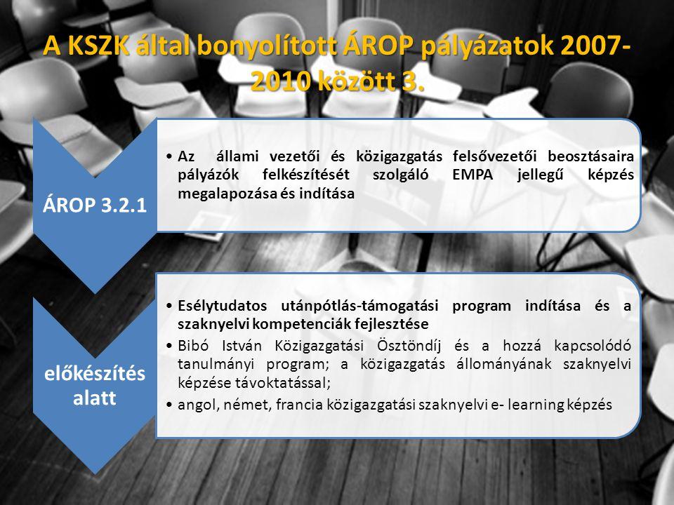 ÁROP 3.2.1 •Az állami vezetői és közigazgatás felsővezetői beosztásaira pályázók felkészítését szolgáló EMPA jellegű képzés megalapozása és indítása előkészítés alatt •Esélytudatos utánpótlás-támogatási program indítása és a szaknyelvi kompetenciák fejlesztése •Bibó István Közigazgatási Ösztöndíj és a hozzá kapcsolódó tanulmányi program; a közigazgatás állományának szaknyelvi képzése távoktatással; •angol, német, francia közigazgatási szaknyelvi e- learning képzés A KSZK által bonyolított ÁROP pályázatok 2007- 2010 között 3.