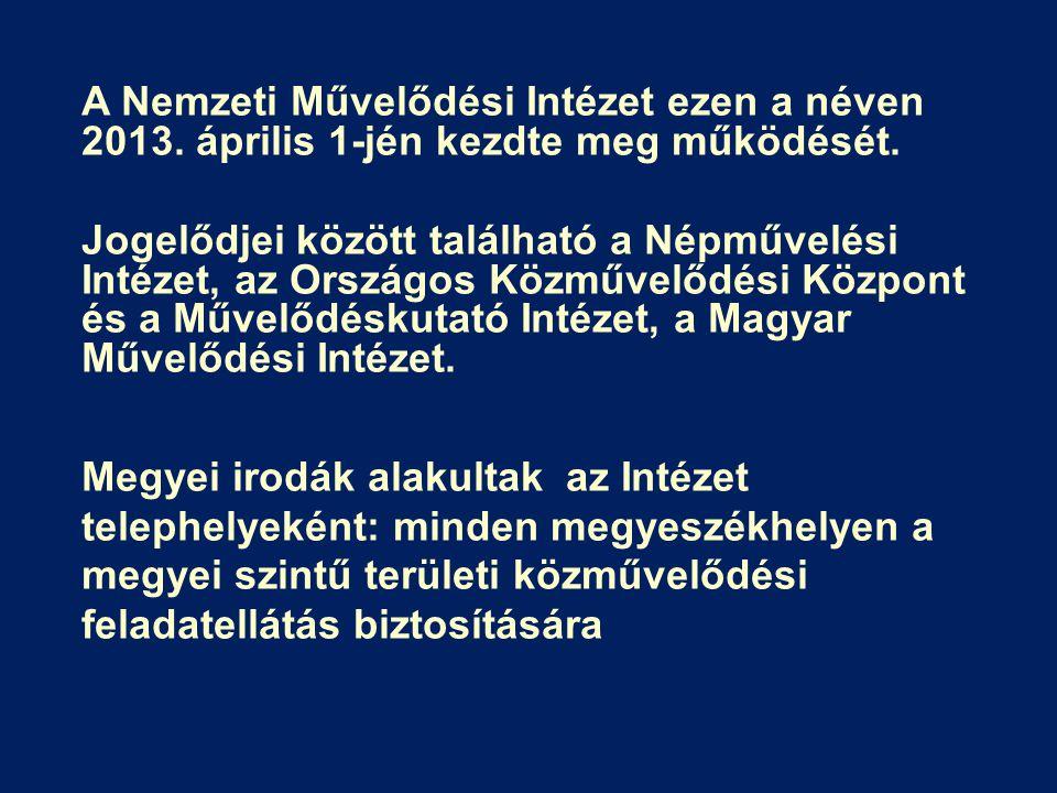 A Nemzeti Művelődési Intézet ezen a néven 2013. április 1-jén kezdte meg működését. Jogelődjei között található a Népművelési Intézet, az Országos Köz