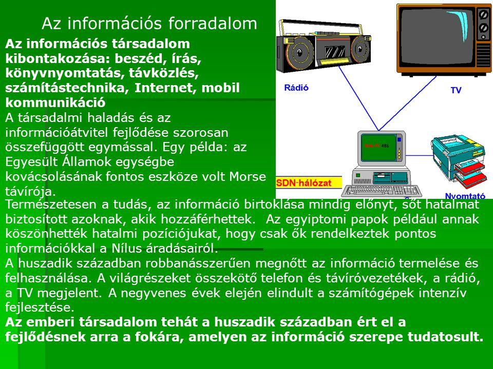 Az információs forradalom Az információs társadalom kibontakozása: beszéd, írás, könyvnyomtatás, távközlés, számítástechnika, Internet, mobil kommunik