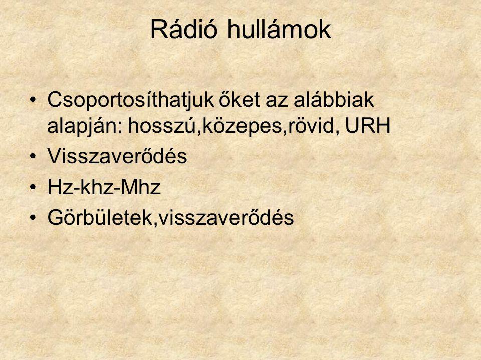 Rádió hullámok •Csoportosíthatjuk őket az alábbiak alapján: hosszú,közepes,rövid, URH •Visszaverődés •Hz-khz-Mhz •Görbületek,visszaverődés