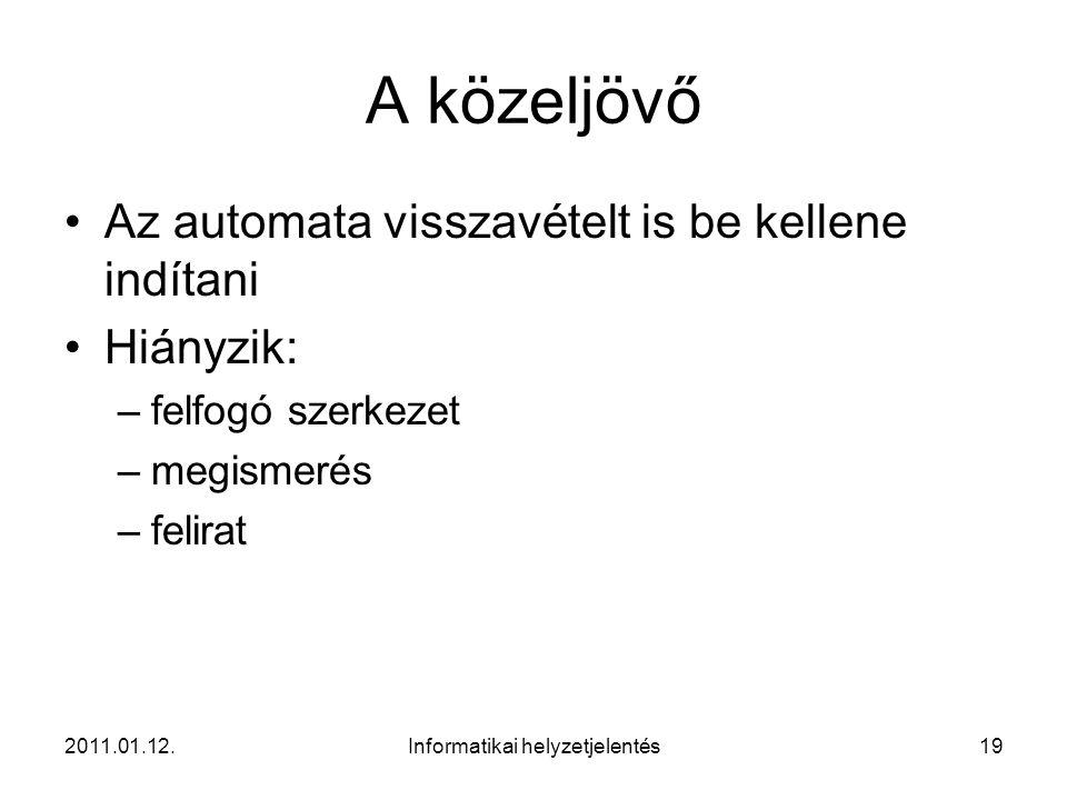 2011.01.12.Informatikai helyzetjelentés19 A közeljövő •Az automata visszavételt is be kellene indítani •Hiányzik: –felfogó szerkezet –megismerés –feli