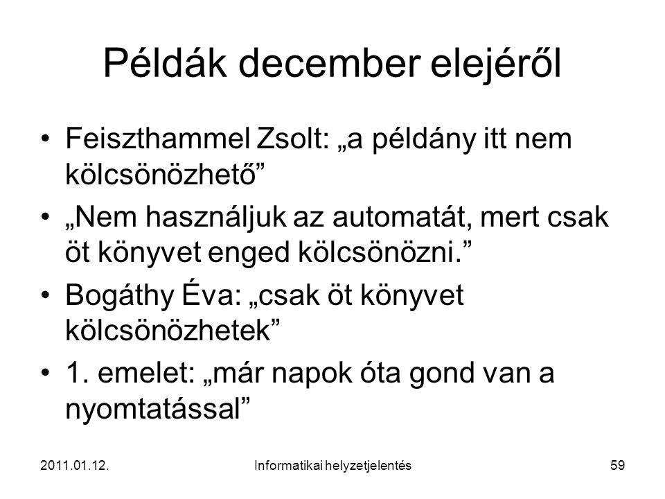 """2011.01.12.Informatikai helyzetjelentés59 Példák december elejéről •Feiszthammel Zsolt: """"a példány itt nem kölcsönözhető"""" •""""Nem használjuk az automatá"""