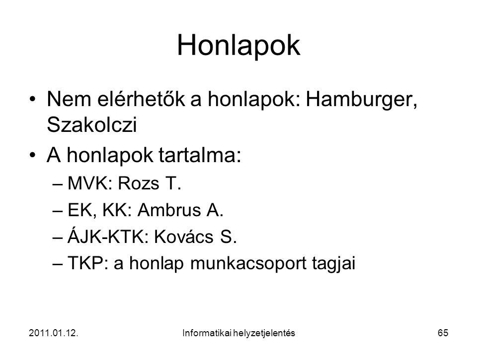 2011.01.12.Informatikai helyzetjelentés65 Honlapok •Nem elérhetők a honlapok: Hamburger, Szakolczi •A honlapok tartalma: –MVK: Rozs T. –EK, KK: Ambrus