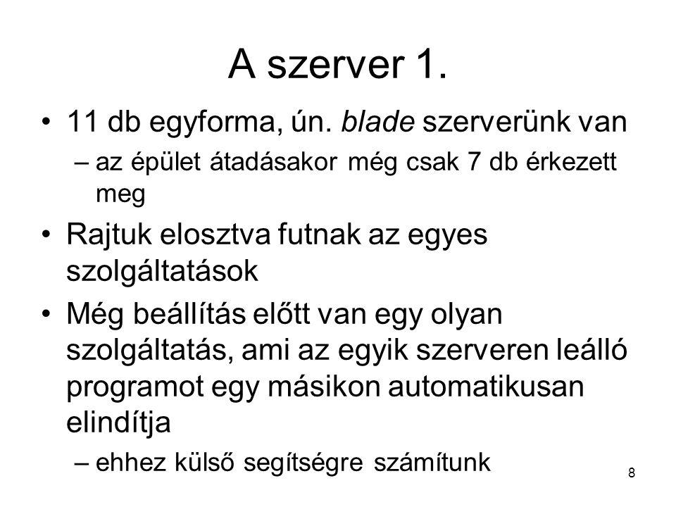 8 A szerver 1. •11 db egyforma, ún.