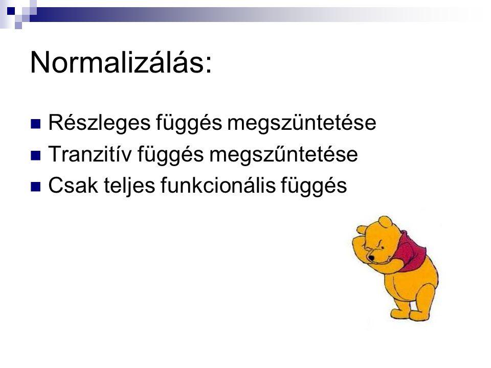 Normalizálás:  Részleges függés megszüntetése  Tranzitív függés megszűntetése  Csak teljes funkcionális függés