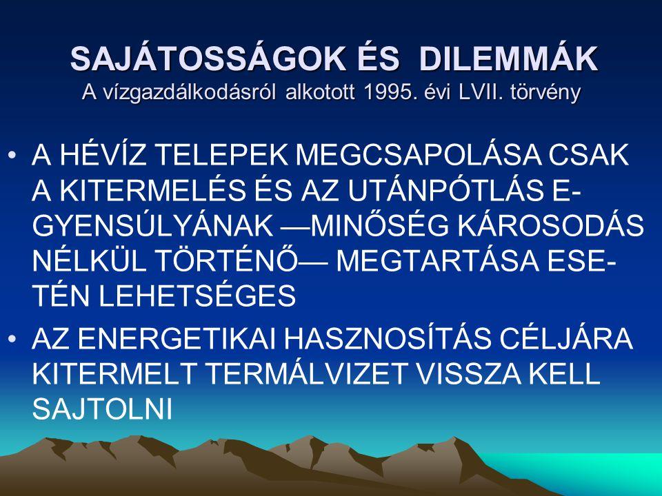 SAJÁTOSSÁGOK ÉS DILEMMÁK A vízgazdálkodásról alkotott 1995.