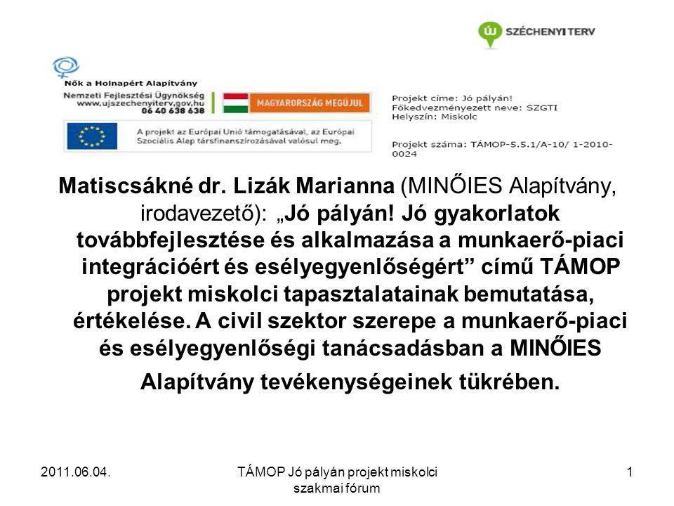 2011.06.04.TÁMOP Jó pályán projekt miskolci szakmai fórum 1 Matiscsákné dr.