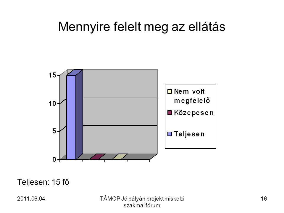 2011.06.04.TÁMOP Jó pályán projekt miskolci szakmai fórum 16 Mennyire felelt meg az ellátás Teljesen: 15 fő