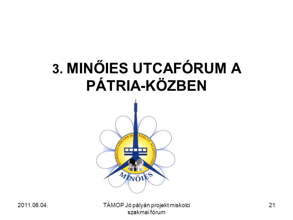 2011.06.04.TÁMOP Jó pályán projekt miskolci szakmai fórum 21 3. MINŐIES UTCAFÓRUM A PÁTRIA-KÖZBEN