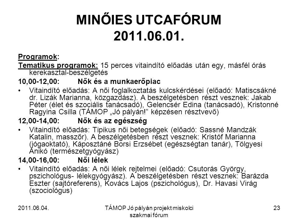 2011.06.04.TÁMOP Jó pályán projekt miskolci szakmai fórum 23 MINŐIES UTCAFÓRUM 2011.06.01.