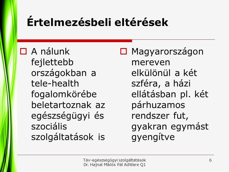 Értelmezésbeli eltérések  A nálunk fejlettebb országokban a tele-health fogalomkörébe beletartoznak az egészségügyi és szociális szolgáltatások is 6T