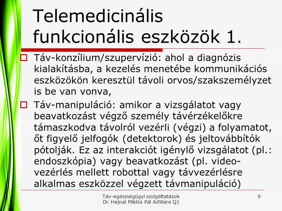 Telemedicinális funkcionális eszközök 1.  Táv-konzílium/szupervízió: ahol a diagnózis kialakításba, a kezelés menetébe kommunikációs eszközökön keres