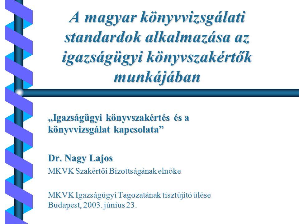 Napirend b Nemzeti Könyvvizsgálati Standardok szerepe b Igazságügyi könyvszakértői tevékenység lényege b Etikai alapelvek b Igazságügyi könyvszakértő feladatai b Igazságügyi könyvszakértő ténymegállapitásainak határai b MKVK szerepe az igazságügyi könyvszakértés területén b Összefoglalás