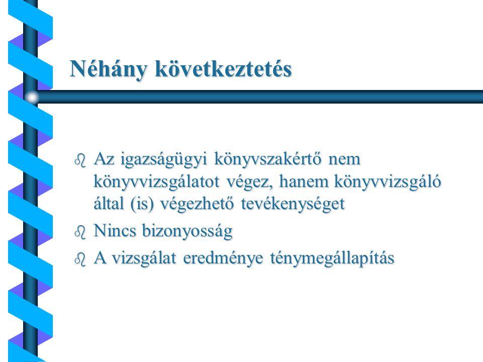 … a magyar Nemzeti Könyvvizsgálati Standardok alapján: b pénzügyi, számviteli információk előre meghatározott szempontok szerinti vizsgálat b a könyvvizsgáló e vizsgálat keretében bizonyossági szintet nem nyújt b a könyvvizsgáló ténymegállapításokat tesz b a jelentés kizárólag a megbízó számára készül Az igazságügyi könyvszakértői tevékenység lényege...